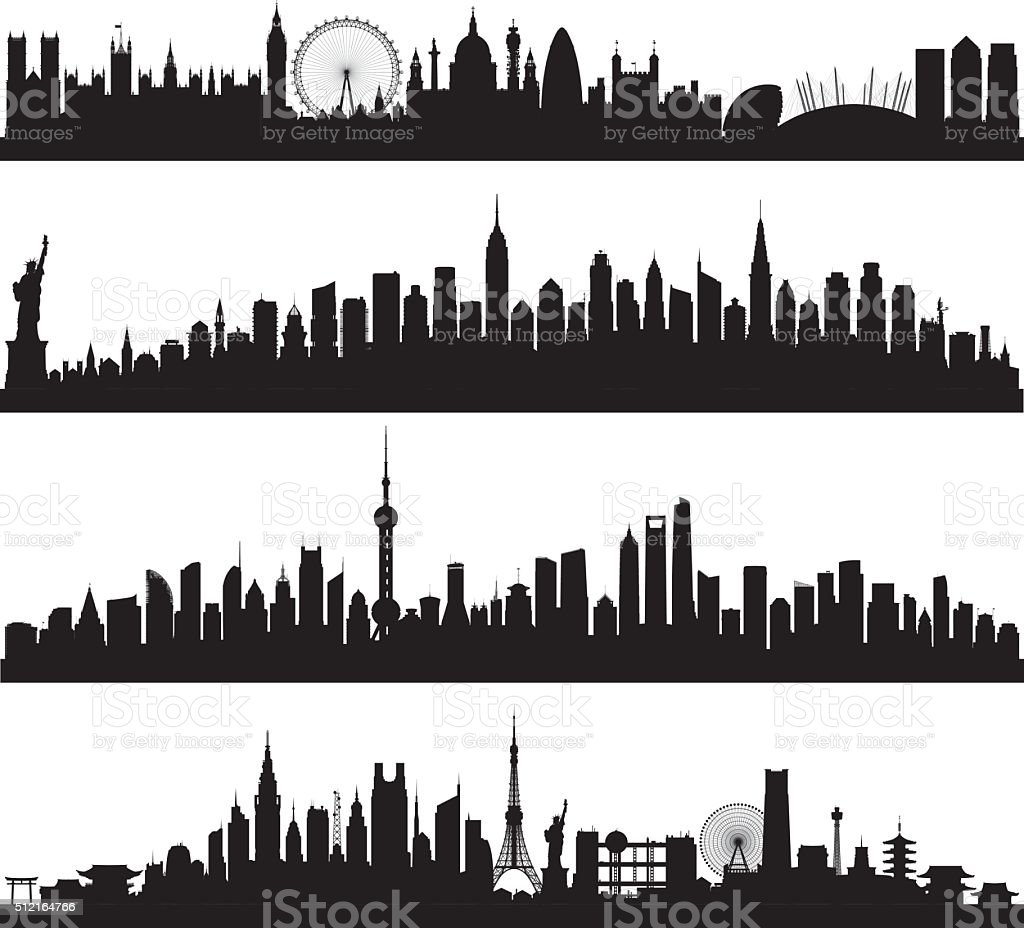 Skylines (All Buildings Are Complete and Moveable) vector art illustration