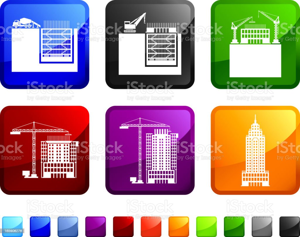 Skyscraper Building and Construction royalty free vector icon set stickers royalty-free stock vector art