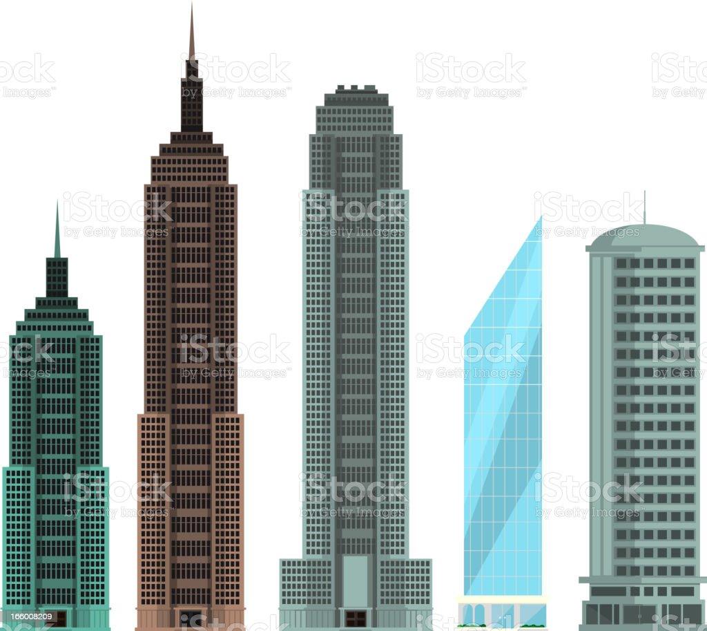 Skyscraper Building Edifice Built Structure Set royalty-free stock vector art