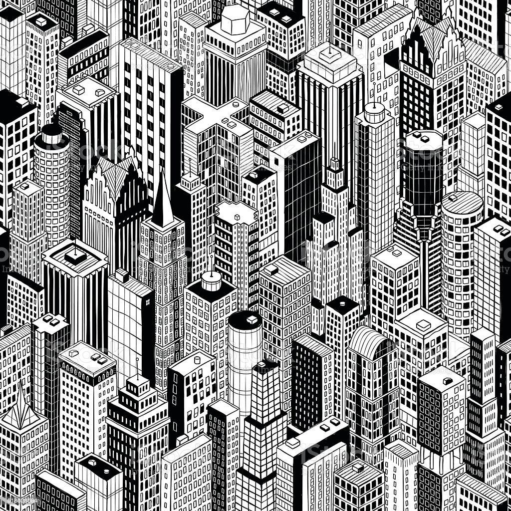 Skyscraper City Seamless Pattern - large vector art illustration