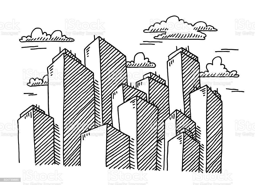 Skyscraper Cityscape Buildings Drawing vector art illustration