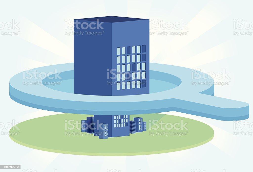 Skyscraper zoom - Axonometric view vector art illustration