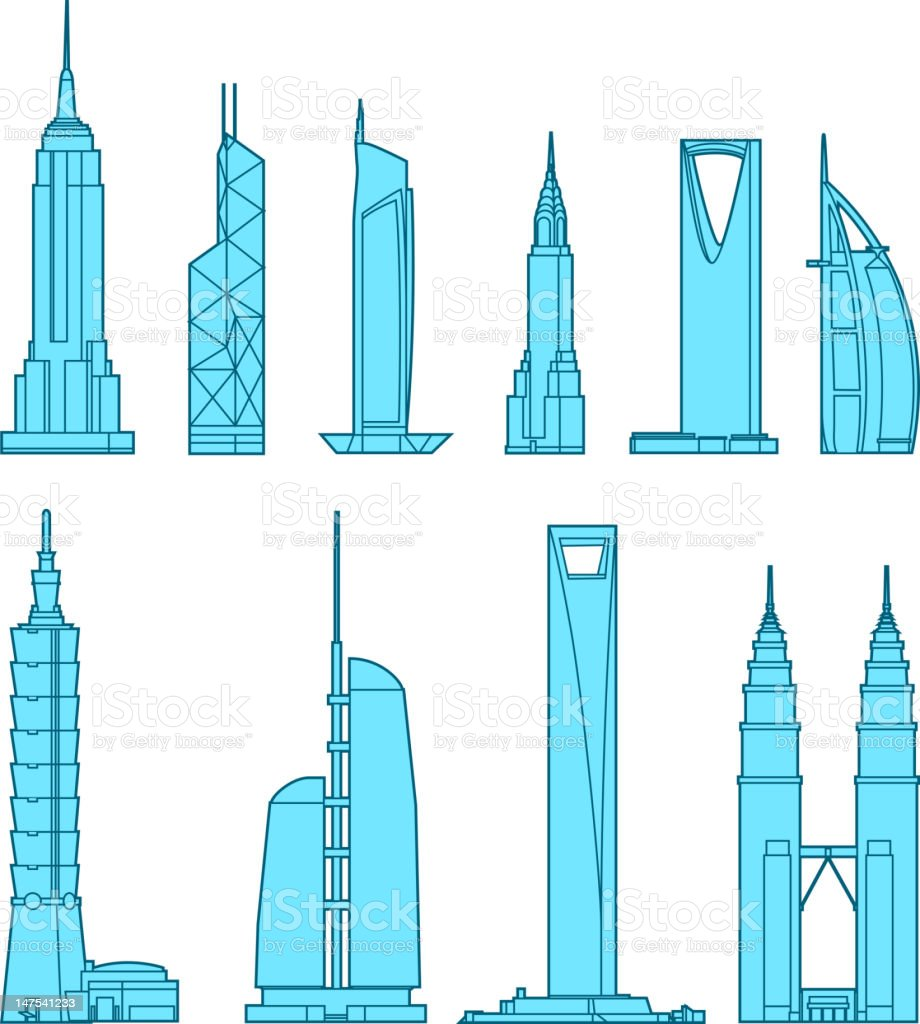 Skyscrapers icons vector art illustration
