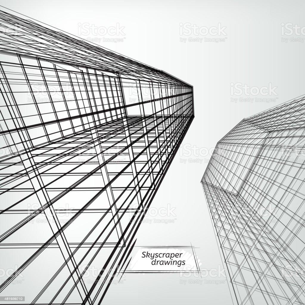 Skyscrapers landscape vector art illustration