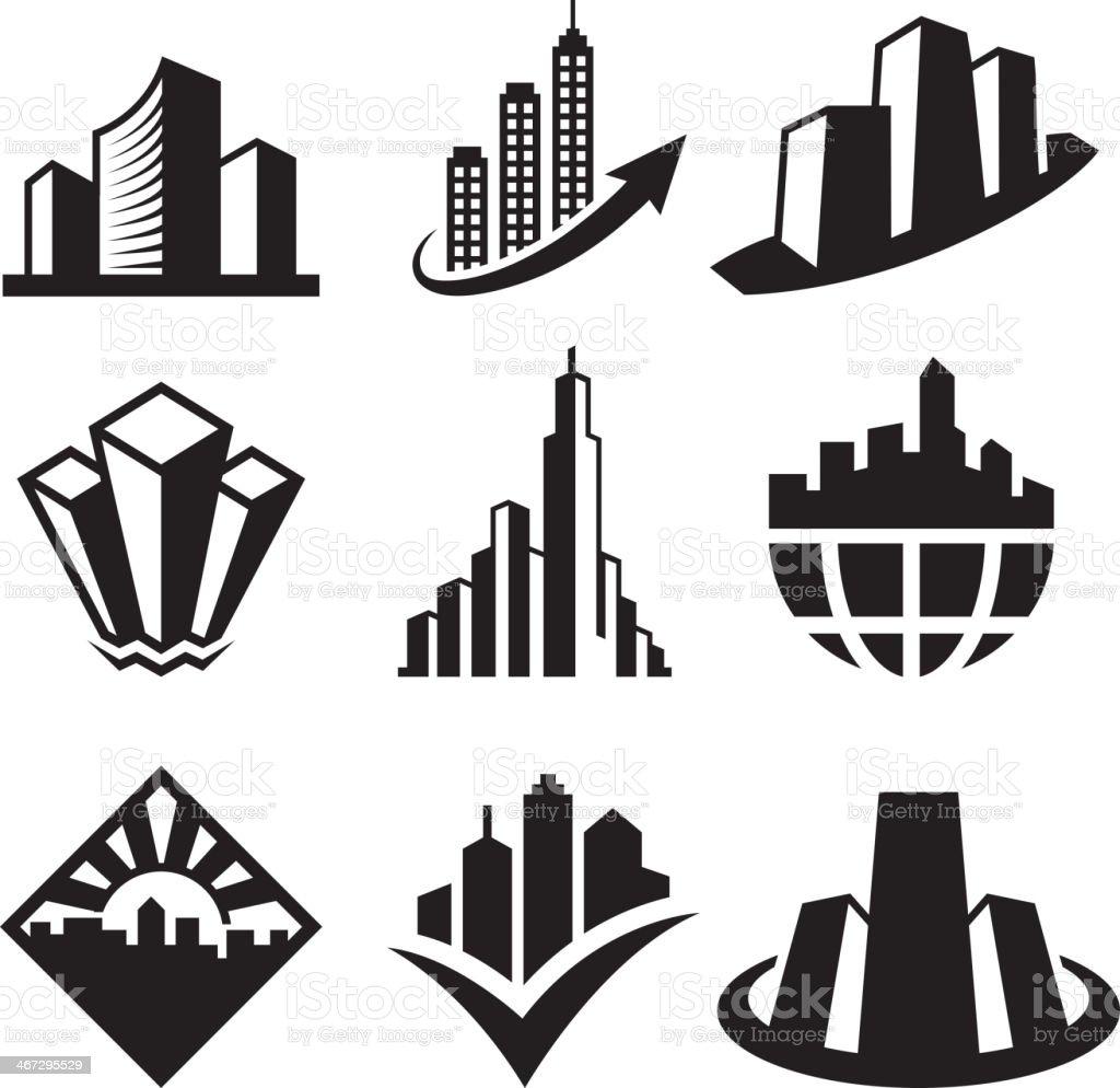 Skyscrapers on Black & White Icon Set vector art illustration