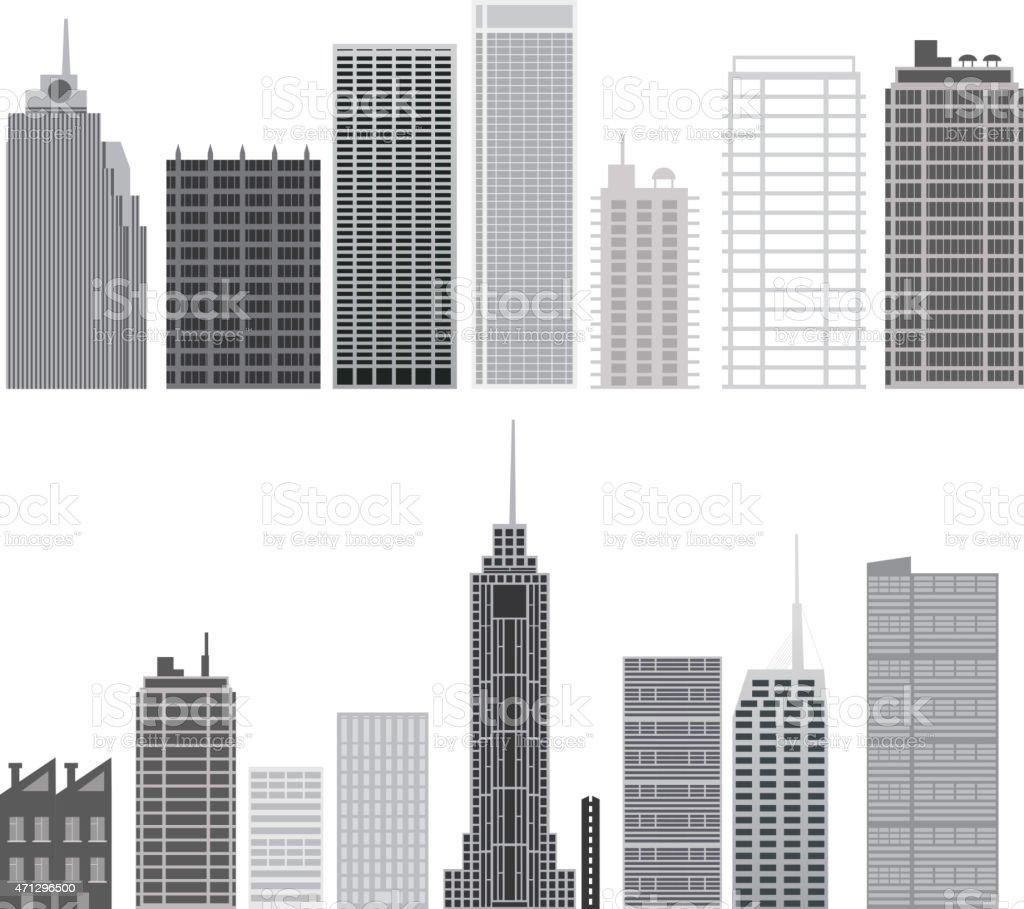 Skyscrapers set. City design elements vector art illustration