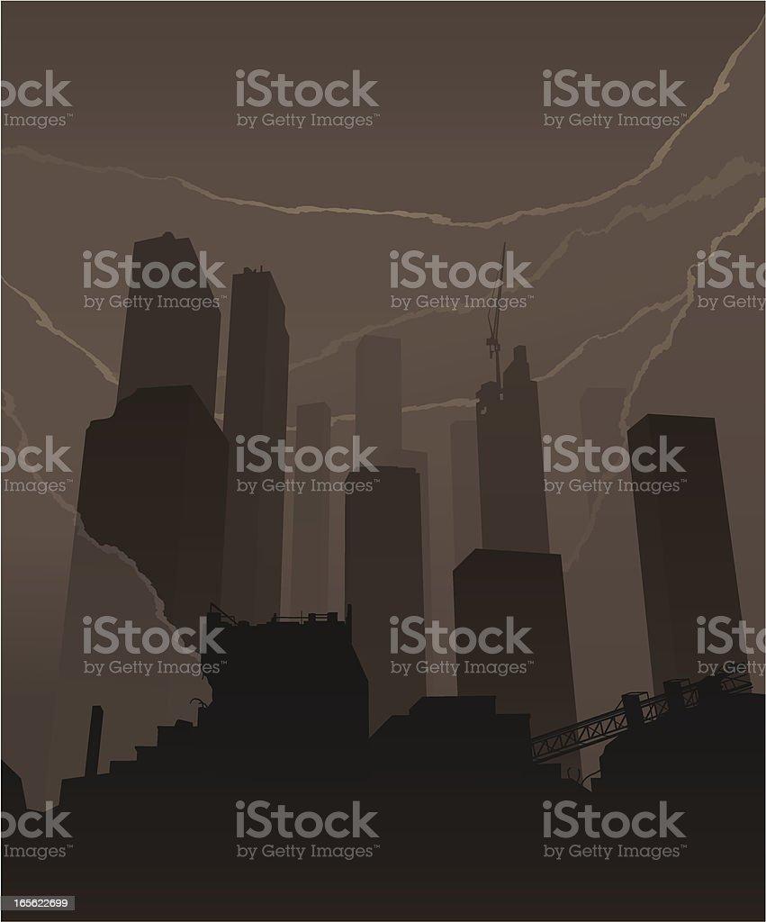 Skyscrapers smoke vector art illustration