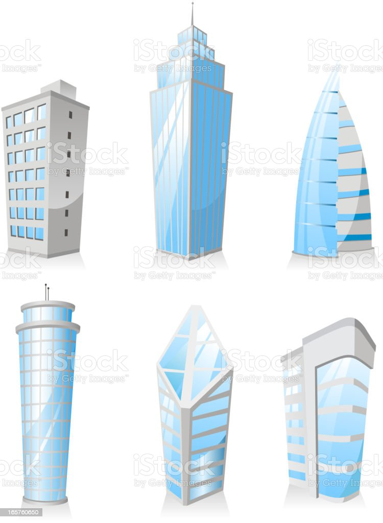 Skyscrapers Tower skyscraper apartment penthouse edifice structure set 3 royalty-free stock vector art