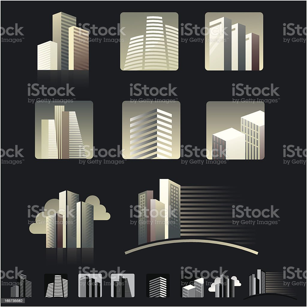 skyscrapers with background vector art illustration