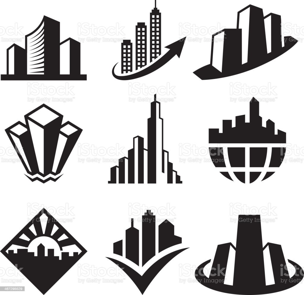 Skyscrapersblack & white royalty free vector icon set vector art illustration
