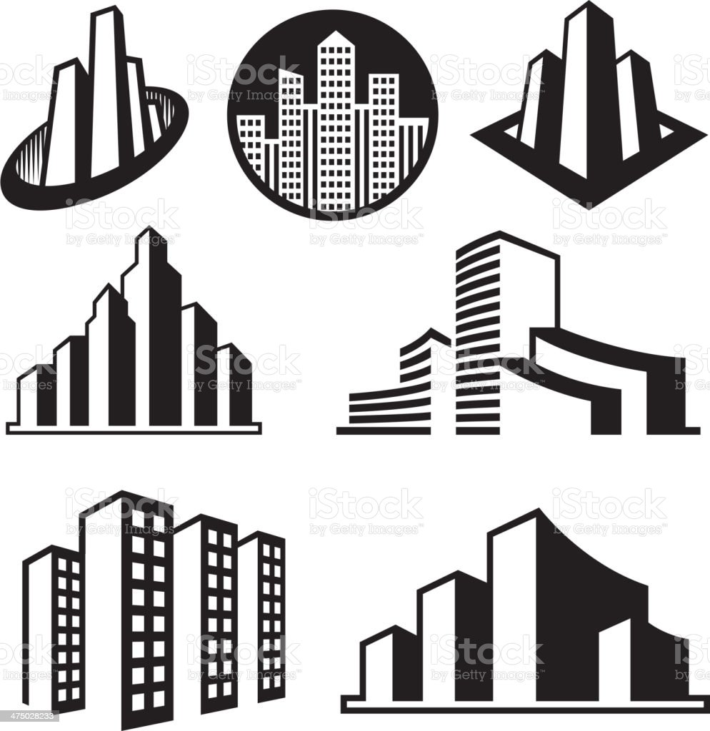 Skyscrapersblack & white royalty free vector interface icon set vector art illustration