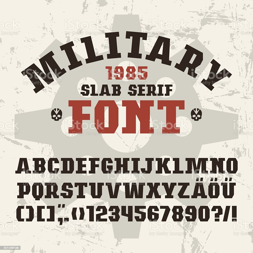 Slab serif font in military style vector art illustration