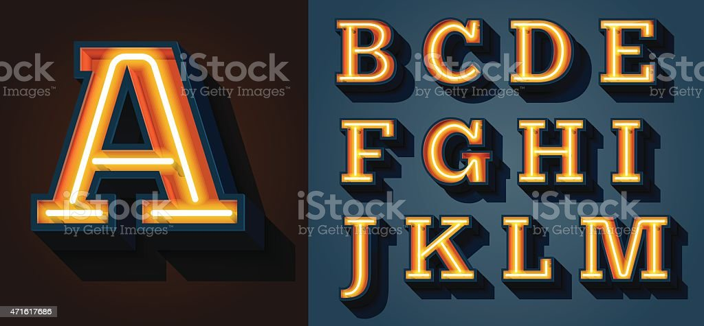 Slab Serif Neon Letters vector art illustration
