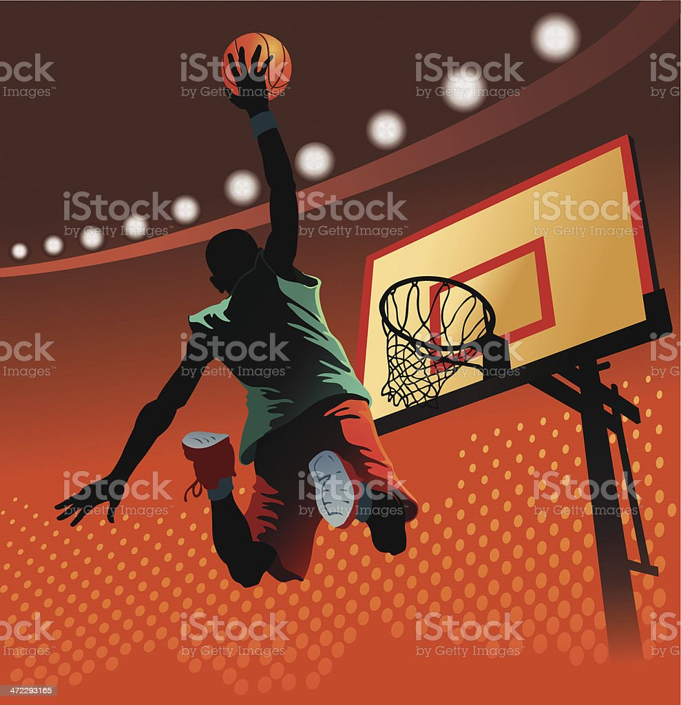 Slam Dunk at Basketball vector art illustration