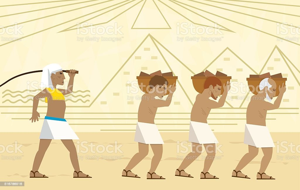 Slaves In Egypt vector art illustration