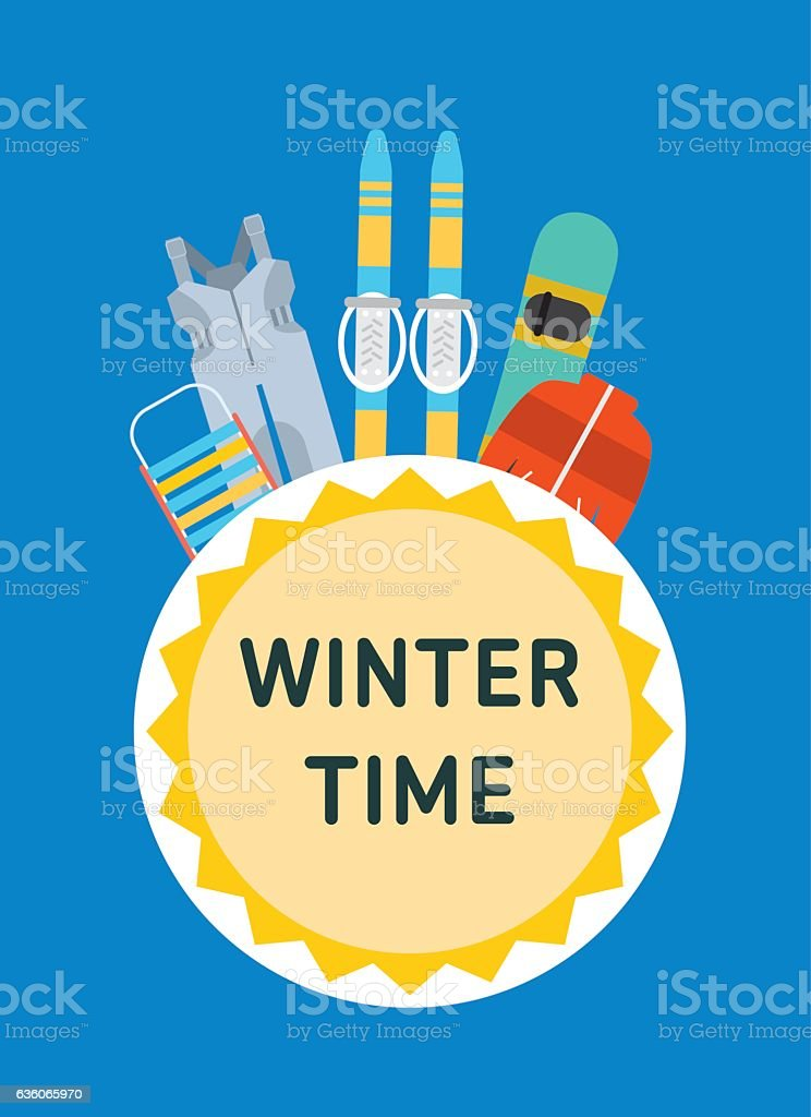 Sled, overalls, ski, snowboard, jacket - children's winter outfit. vector art illustration