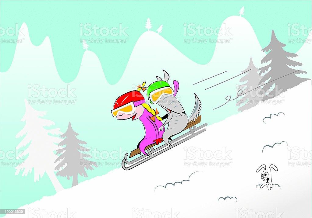 Sledding downhill vector art illustration