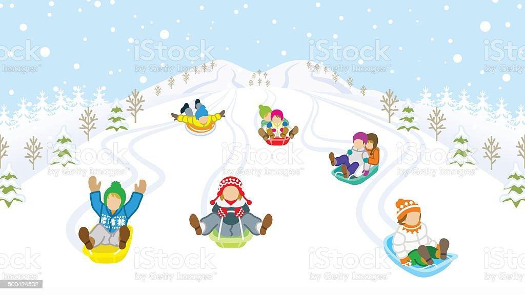 Sledding kids in snowy mountain vector art illustration