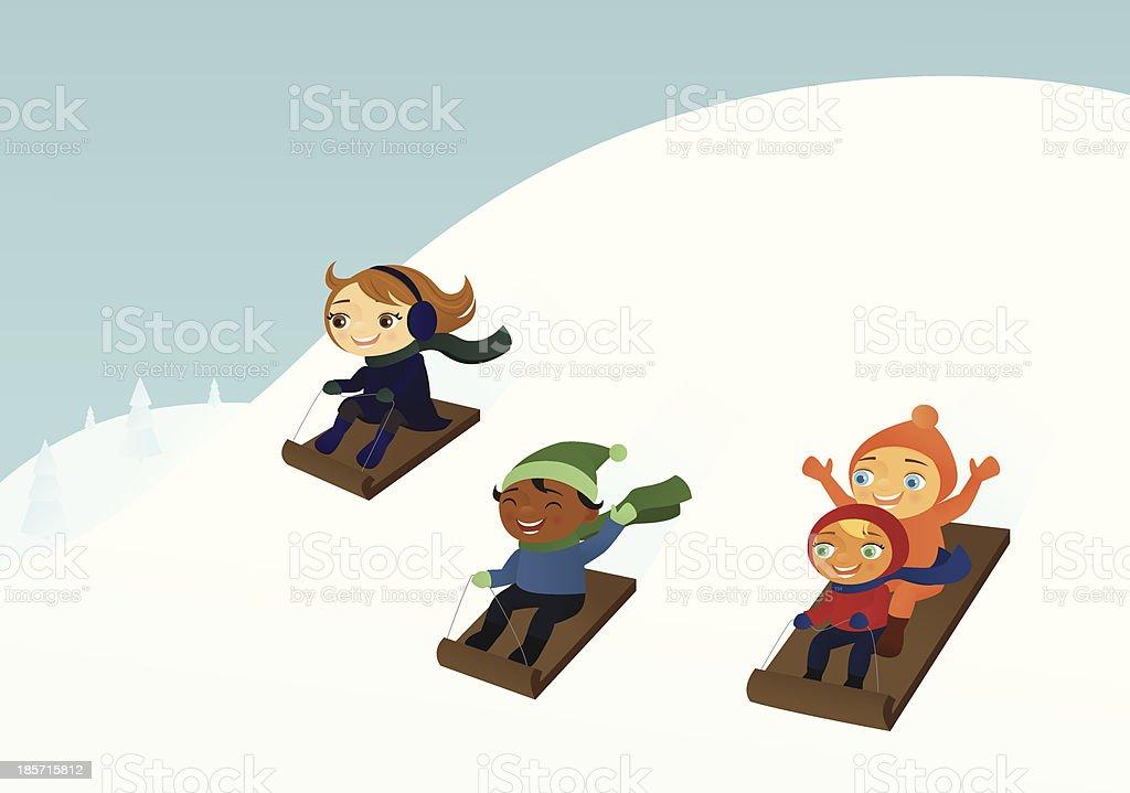 Sledding Kids vector art illustration
