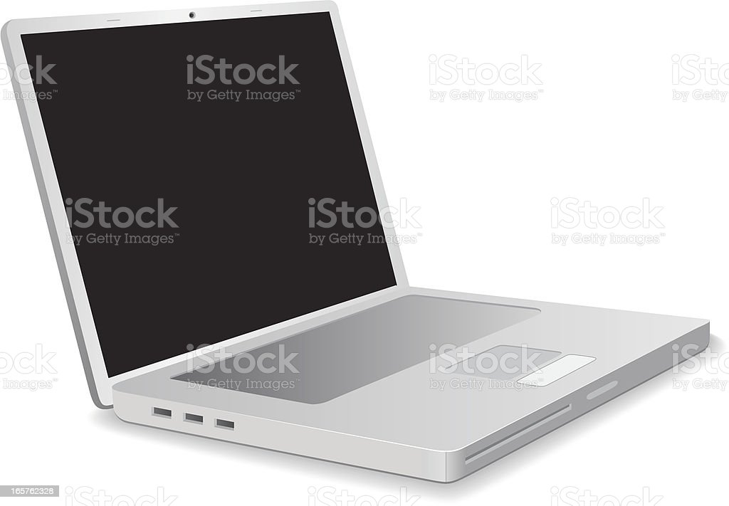 Sleek and new silver laptop without a keyboard royalty-free stock vector art