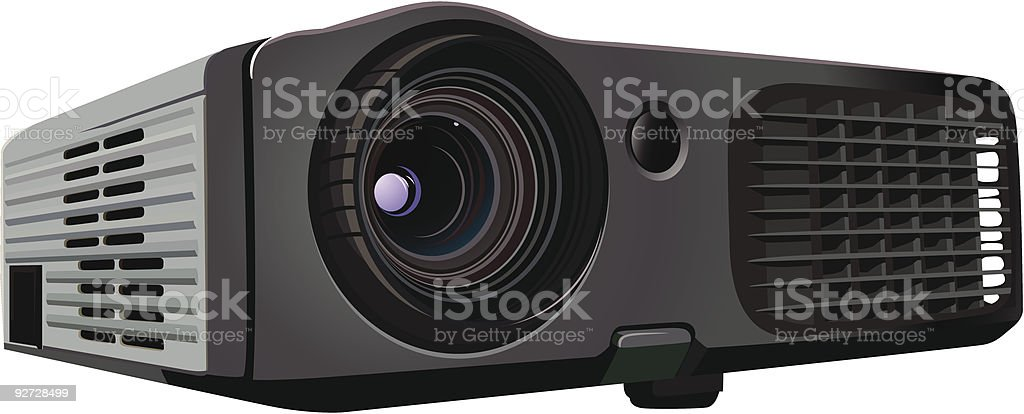 A sleek black and grey newly designed office projector vector art illustration