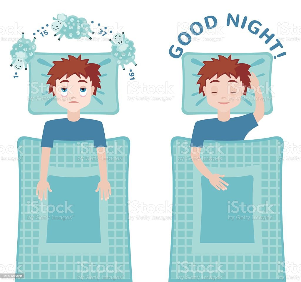 Sleep and insomnia concept. vector art illustration