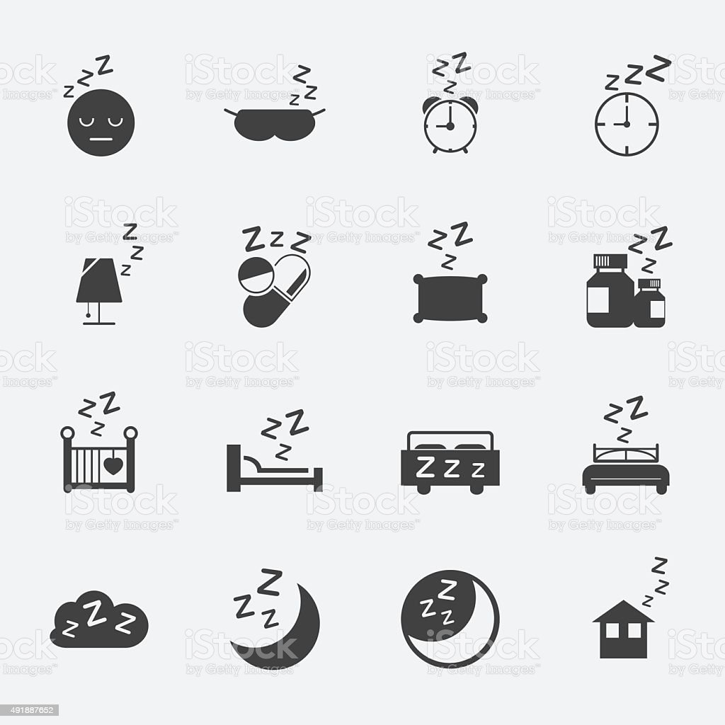 sleep icons set. vector art illustration