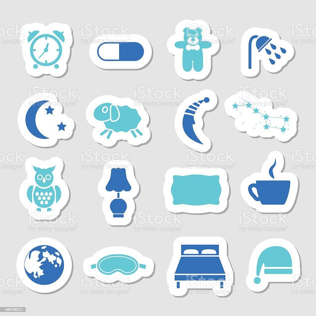 sleep stickers vector art illustration