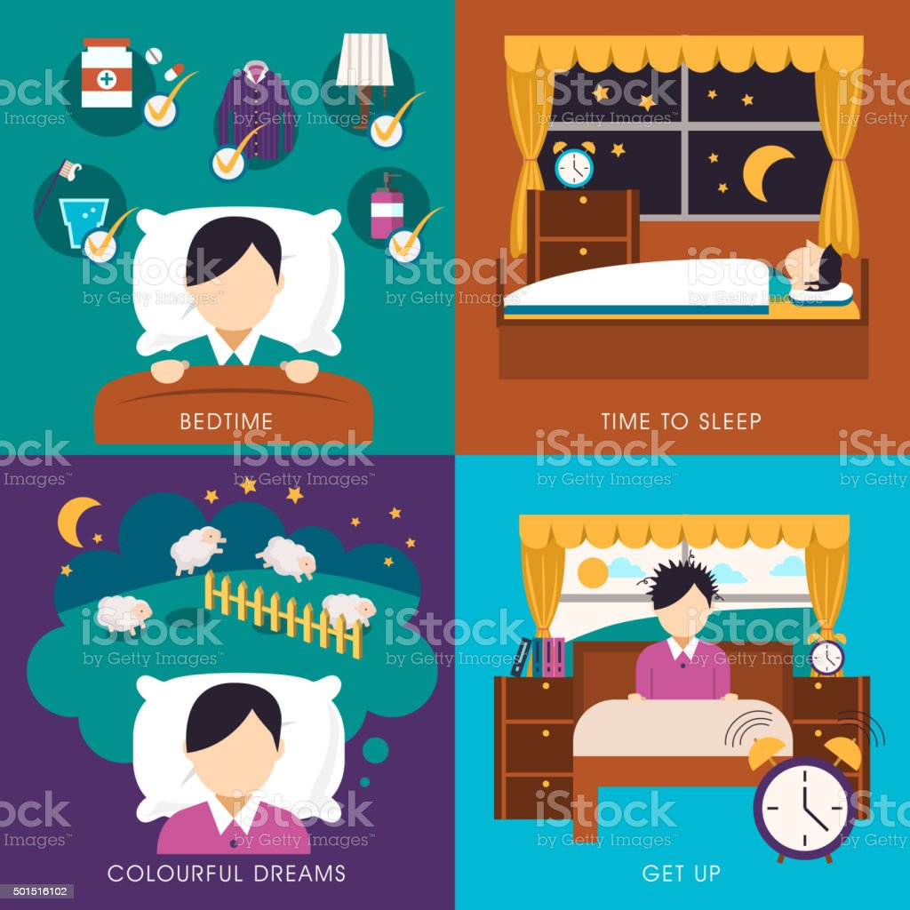 sleep time collection vector art illustration