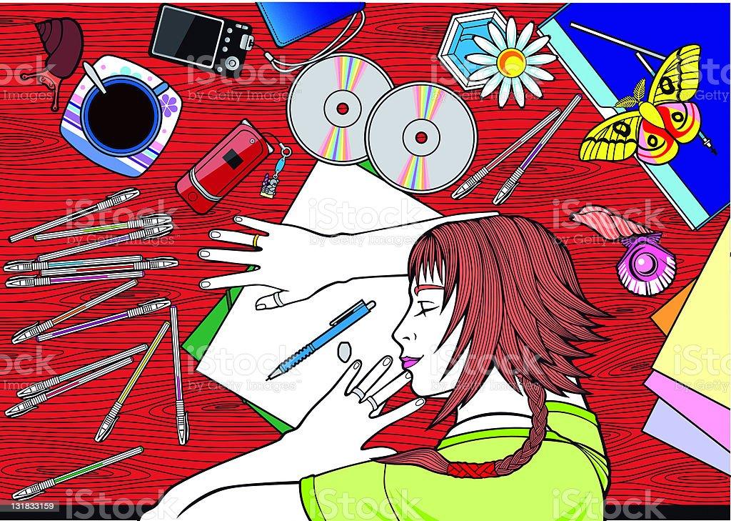 Sleeping Artist royalty-free stock vector art