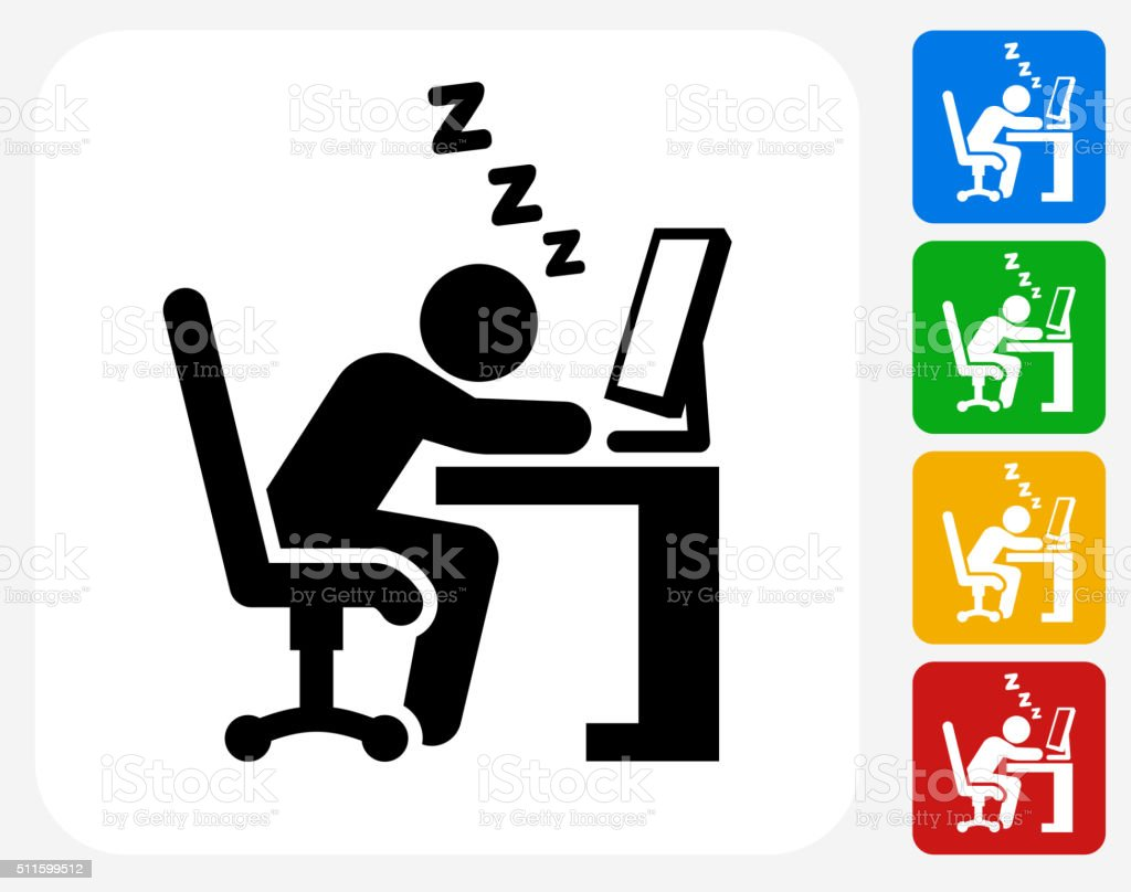 Sleeping at Work Icon Flat Graphic Design vector art illustration