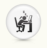 Sleeping at Work icon on white round vector button