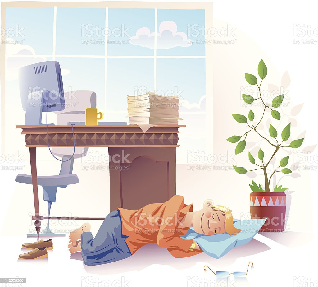 Sleeping at work vector art illustration