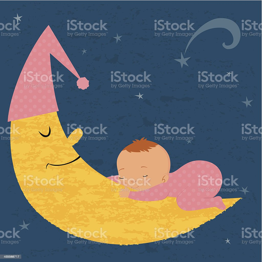 Sleeping baby girl on the moon vector art illustration