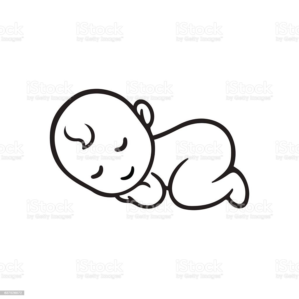 Sleeping baby silhouette vector art illustration