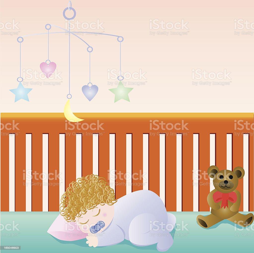 Sleeping Baby vector art illustration