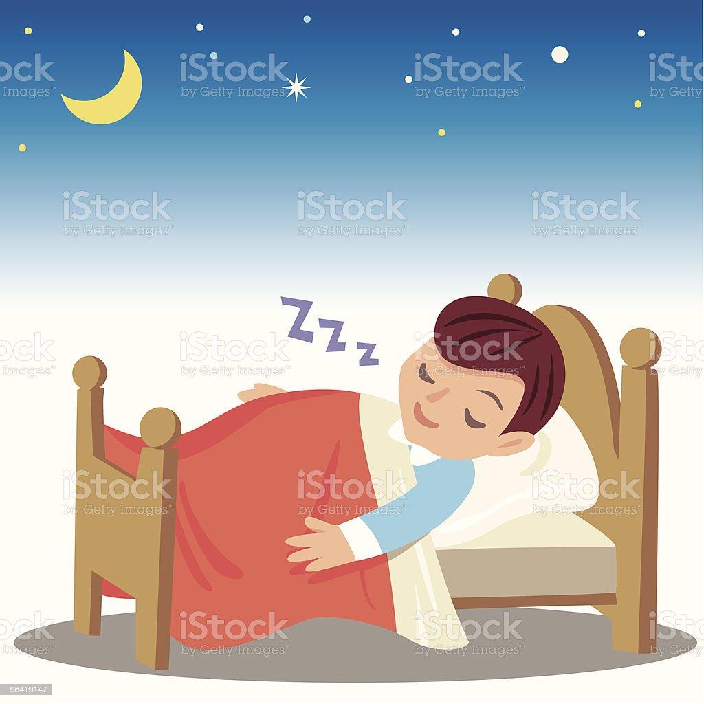 Sleeping Boy vector art illustration