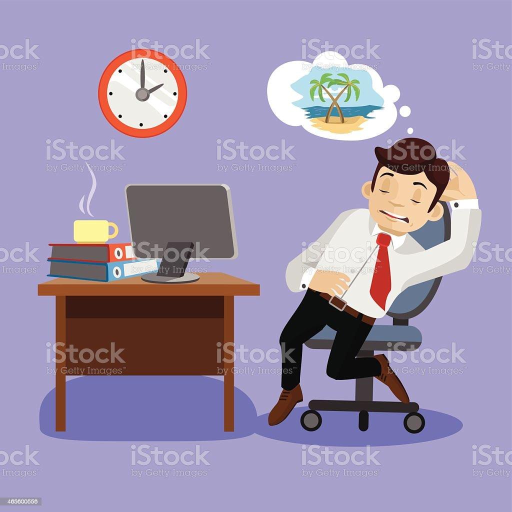 Sleeping businessman. Vector flat illustration vector art illustration