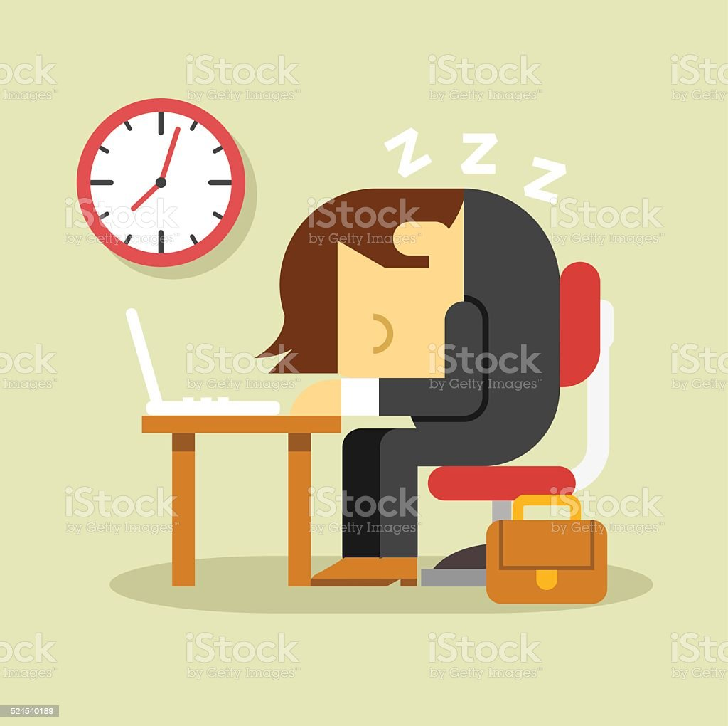 Sleeping businessman. Vector flat illustration vector art illustration