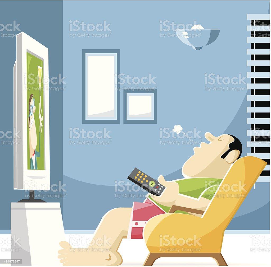 sleeping by tv vector art illustration