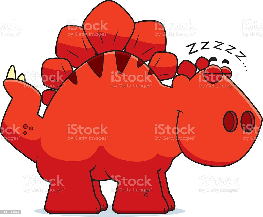 Sleeping Cartoon Stegosaurus vector art illustration