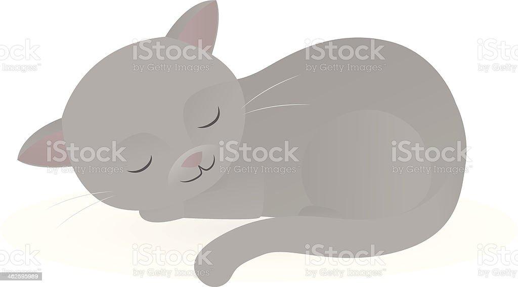 Sleeping Cat vector art illustration
