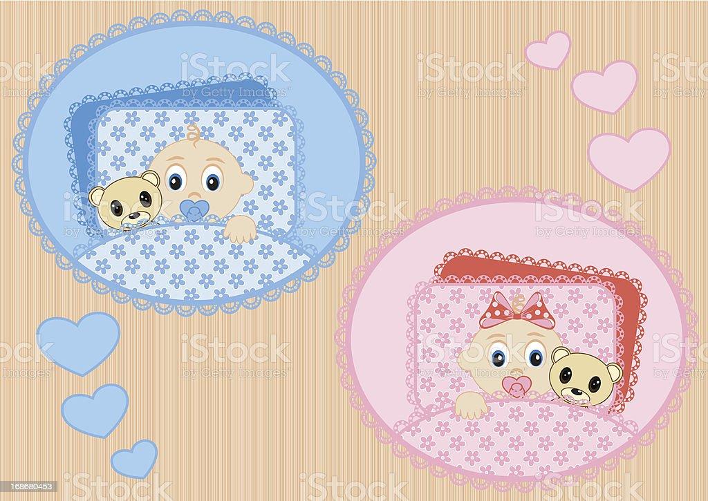 sleeping children royalty-free stock vector art
