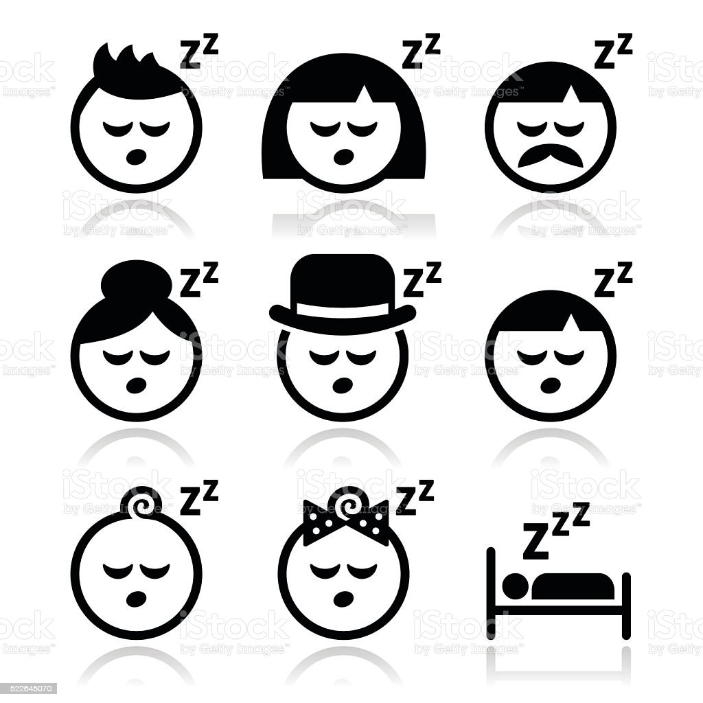 Sleeping, dreaming people faces icons set vector art illustration