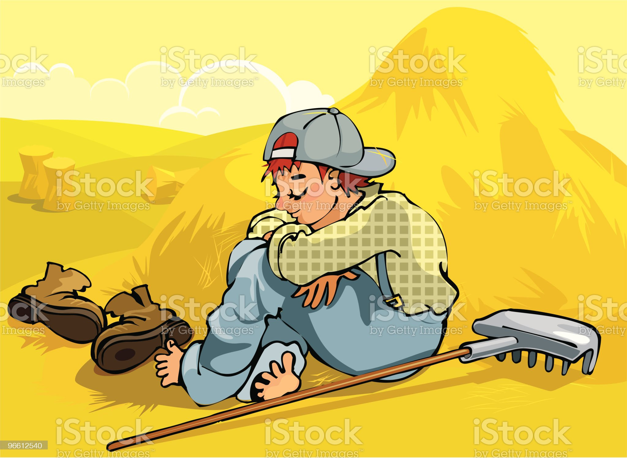 Sleeping Farm Boy royalty-free stock vector art