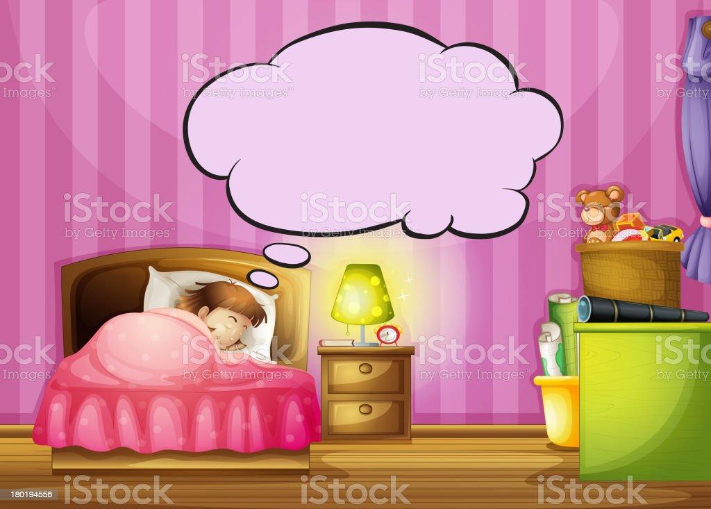 sleeping girl and a speech bubble royalty-free stock vector art