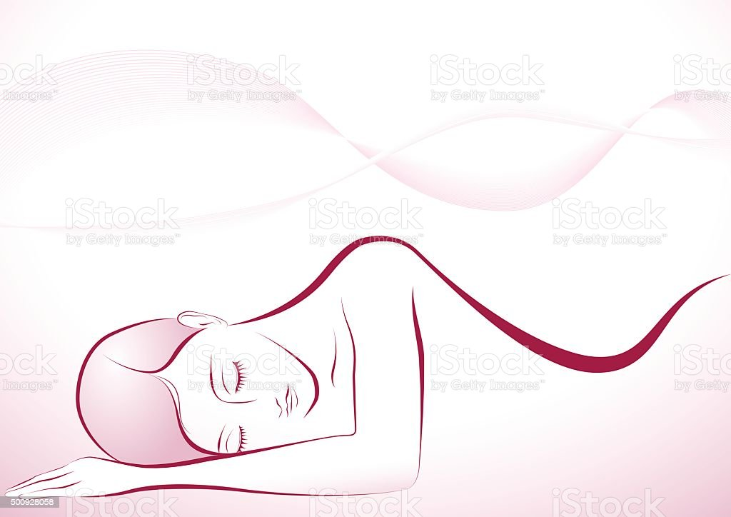 Sleeping girl vector art illustration