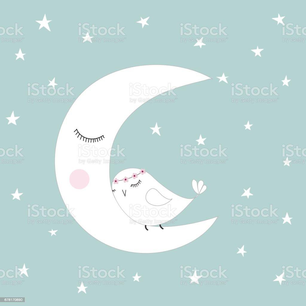 Kids at night with moon royalty free stock photography image - Sleeping Half Moon White Cute Bird Blue Night Sky Stars Kids Illustration Room Decoration Royalty