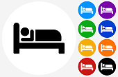 Sleeping Icon on Flat Color Circle Buttons