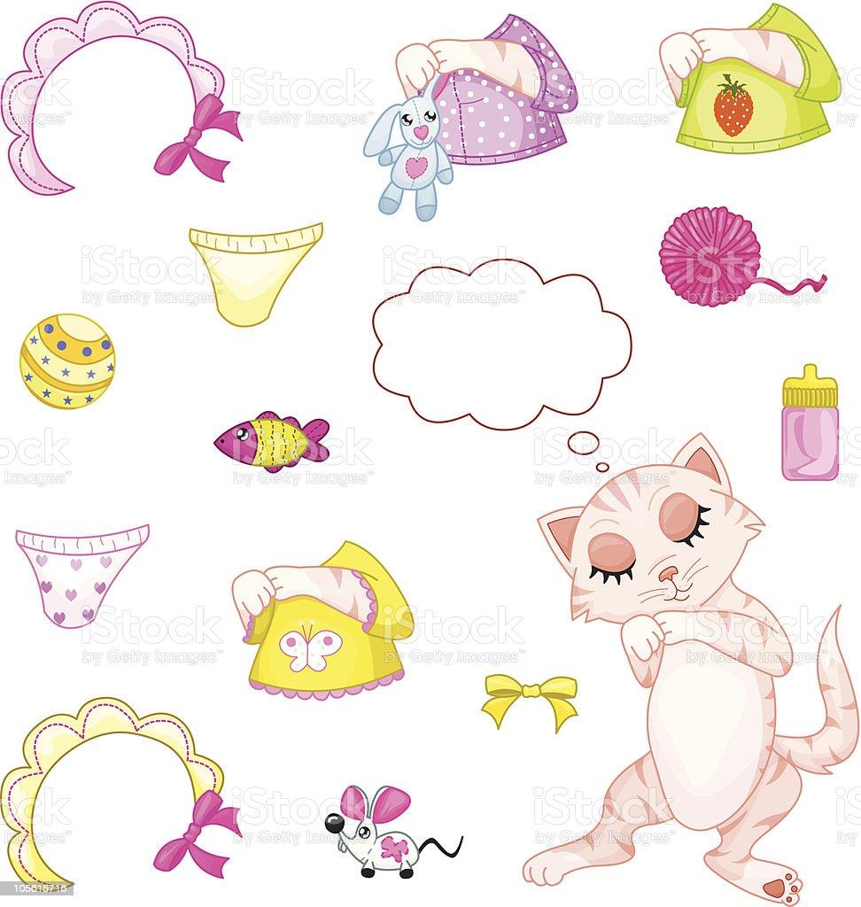 Sleeping kitten (girl) royalty-free stock vector art